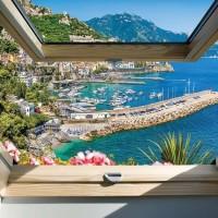 Pihentető fotótapéta, yacht kikötő ablakból tekintve - 10389